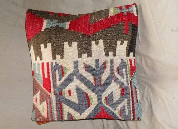 Vintage Turkish Handwoven Kilim Pillow Cover 16x16free by Cultere, $63.00