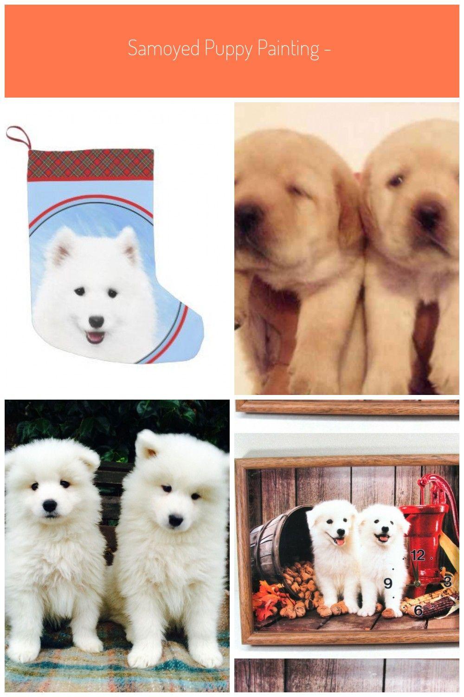Samoyed Puppy Painting Cute Original Dog Art Small Christmas Stocking In 2020 Samoyed Puppy Puppies Small Christmas Stockings