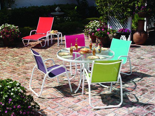 Patio Furniture for Small Outdoor Spaces: Gardenella Sling Collection from Telescope. If your outdoor space needs a shot of color, the Gardenella sling collection from Telescope is an option. It gives you strong, vibrant color choices. The aluminum frame is rust-free and has a powder coated finish. The slings are weather resistant. However, outdoor fabric that sits in the sun and rain will need to be replaced eventually, and these slings are replaceable.
