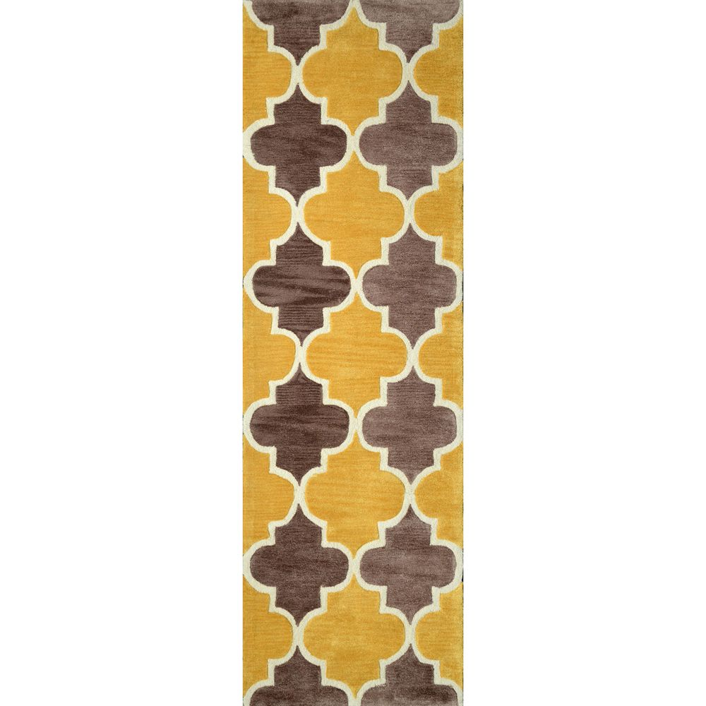 nuLOOM Hand-tufted Trellis Synthetics Gold Runner Rug (2' 6 x 8') - Overstock™ Shopping - Great Deals on Nuloom Runner Rugs