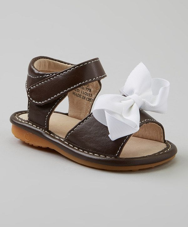 a8af9f8ffd Look at this Laniecakes Brown   White Add-a-Bow Squeaker Sandal on  zulily  today!