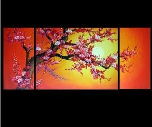 Feng Shui Painting Cherry Blossom Painting Sunset Flower Cherry Blossom Painting Painting Oriental Artwork