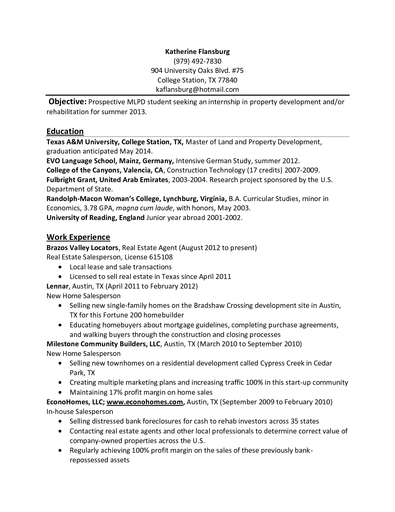 Undergraduate Student Resume Sample Resume For Undergraduate Psychology Students Guide To The