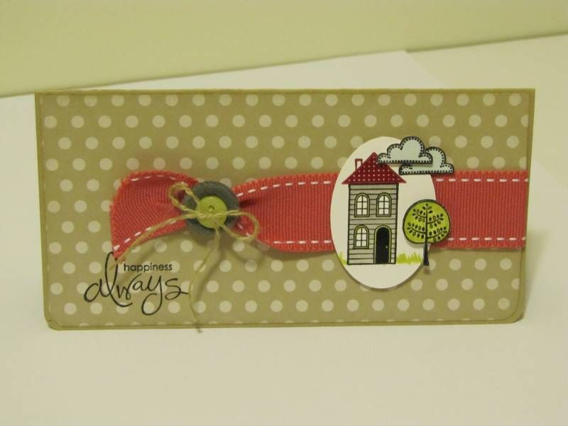 Cut out tree and cloud, button with ribbon