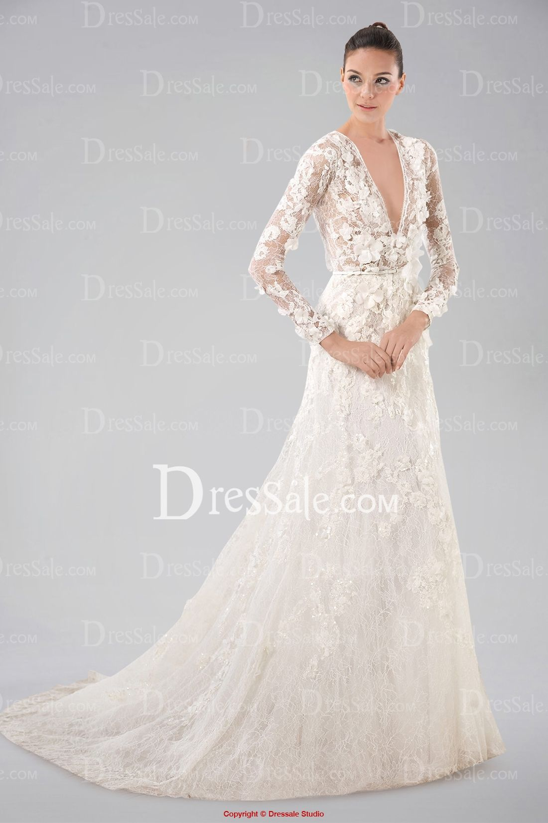 Breezy vneckline long sleeve wedding gown with lace overlay and