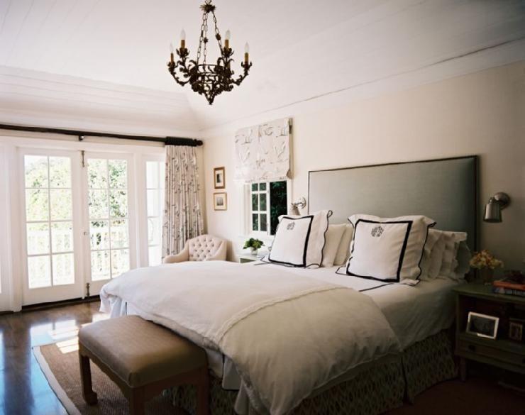 Bedrooms   Ligh Pink Walls Gray Linen Headboard Nailhead Trim White  Monogrammed Hotel Bedding Black Stitching Part 81