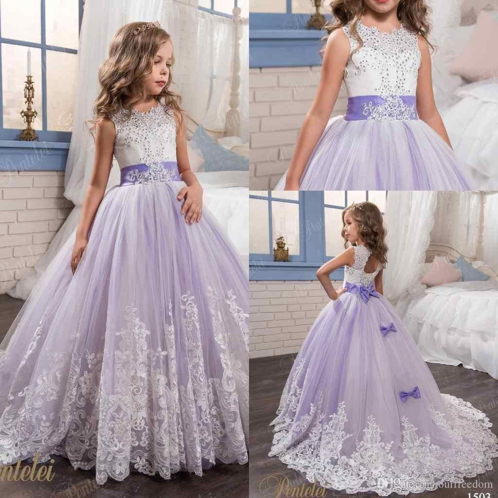 2017 Petelei Cute White And Purple First Communion Dress For Girls Ball Gown  Jewel Lace Flower Garden Wedding Puffy Flower Girl Dresses Toddler  Bridesmaid ... 0a139cfc381b