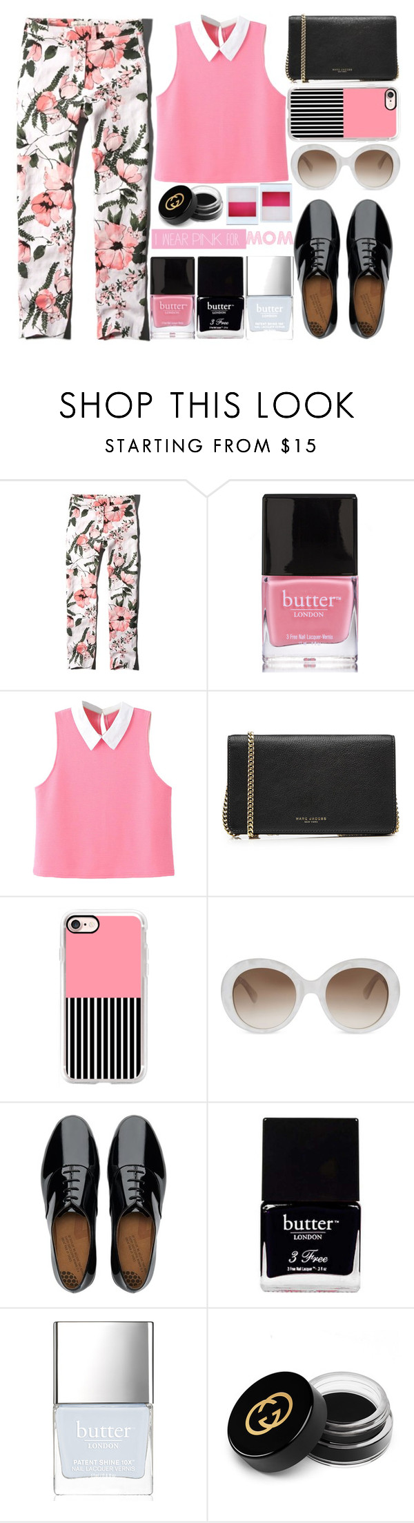 """I wear pink for Mom - Top Set 10/6/16"" by juliehalloran ❤ liked on Polyvore featuring Abercrombie & Fitch, Butter London, WithChic, Marc Jacobs, Casetify, Gucci, FitFlop, Holga and IWearPinkFor"