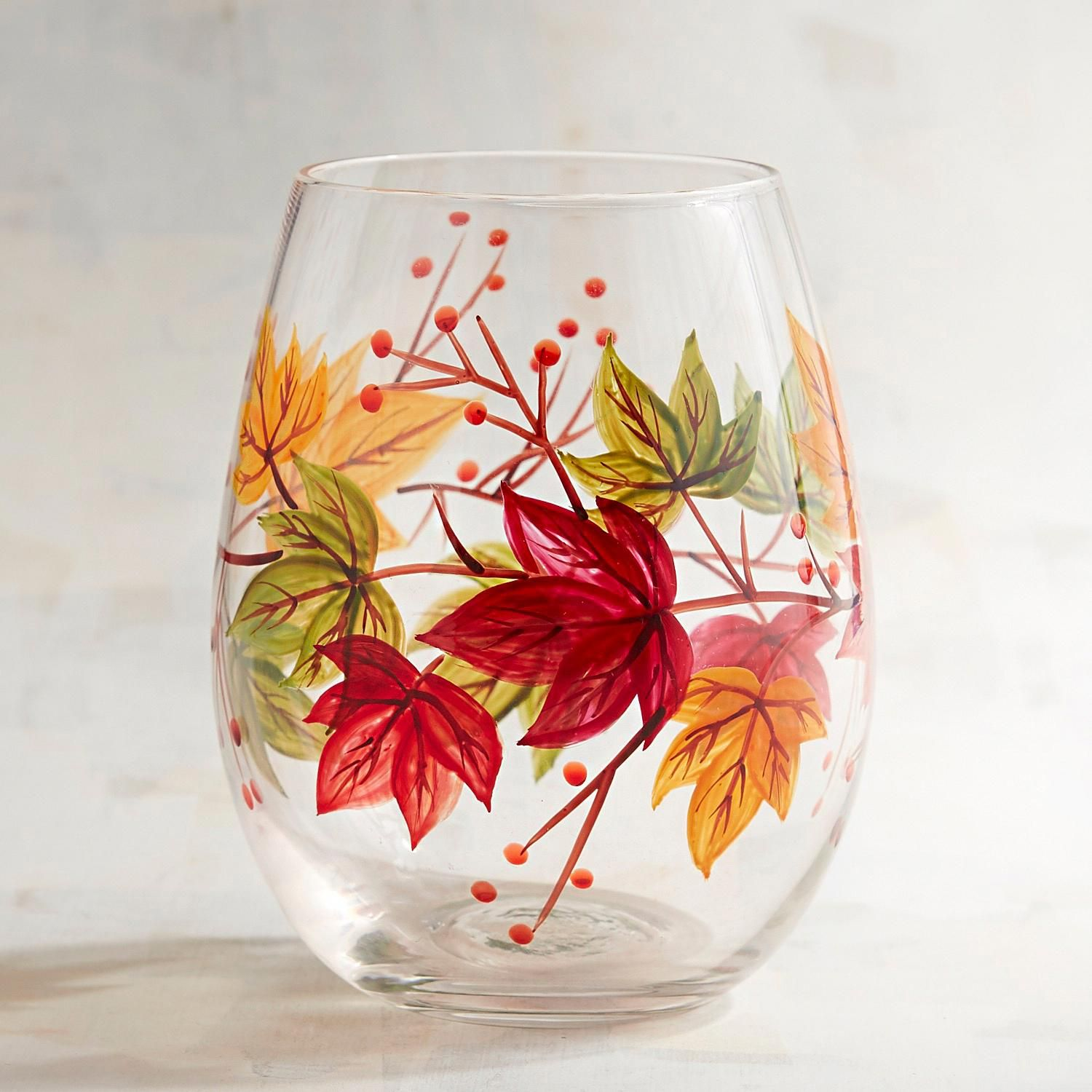 Colorful Leaves Hand Painted Stemless Wine Glass Hand Painted Wine Glasses Hand Painted Wine Glass Wine Glass Crafts