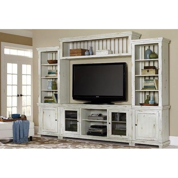Distressed White 4 Piece Rustic Entertainment Center Willow In