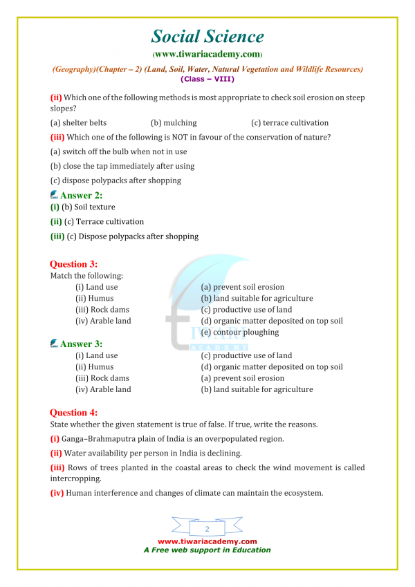 NCERT Solutions for Class 8 Geography Chapter 2 in English
