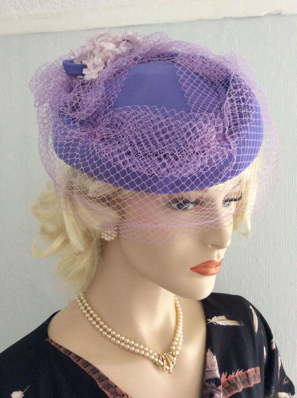 Vintage 1970s 1980s Lilac Lavender Purple Pillbox Birdcage Tilt Veil Net Hat 1940s 1950s re-enactment retro wartime by JuliesLittleSecrets on Etsy