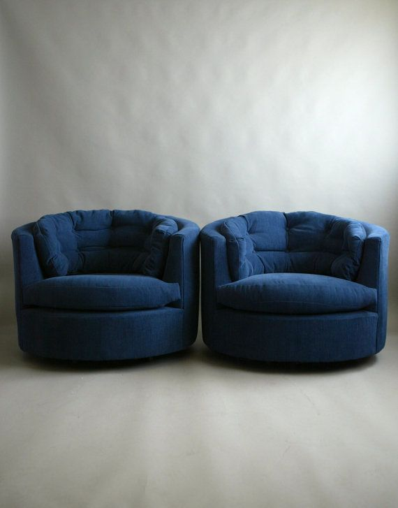 A Stunning Set Of Milo Baughman Swiveling Barrel Chairs  Gorgeous Velvety  Blue 1970s Lounge Seating  Restored Club Seats.