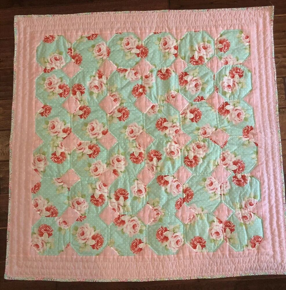 Kyle /& Deena thick plush PINK baby blanket PERSONALIZED rose pattern gift new