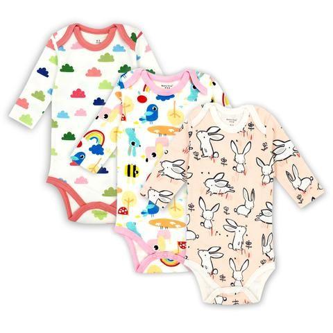 cfe65c6af147 3 pcs lot Baby Girls Boys Clothing Newborn Baby Bodysuits Long ...