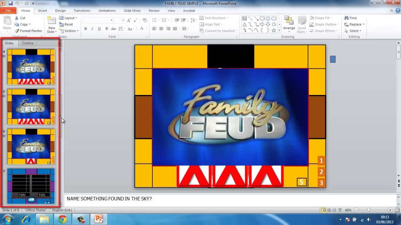 Family Feud Powerpoint instructions    without a link to download
