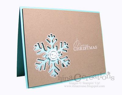 handmade Christmas card fronm aMy Creations: Clean and Simple Friday ... kraft + aqua... two layer card ... negative space snowflake die cut .. like the gel pen stitching around the edges ... Stampin' Up!