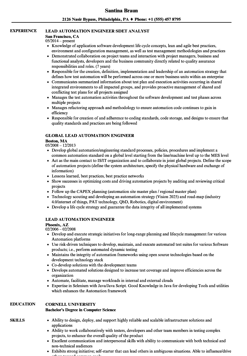 Automation Resume Samples Great Automation Resume Samples Uft Sample Resume It Really Is Well Known Human Resources Resume Manager Resume Resume Examples