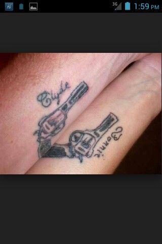 22d29e688 Bonnie & Clyde | matching tattoos | Couple tattoos, Matching tattoos ...