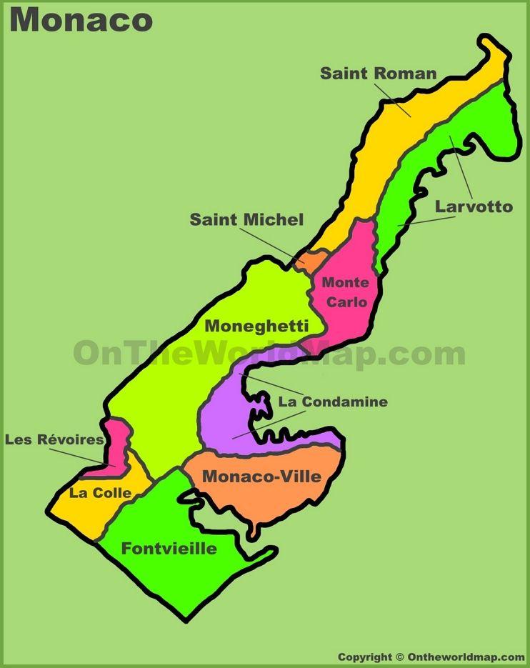 Maps Of Monaco Administrative Divisions Map Of Monaco Beauties