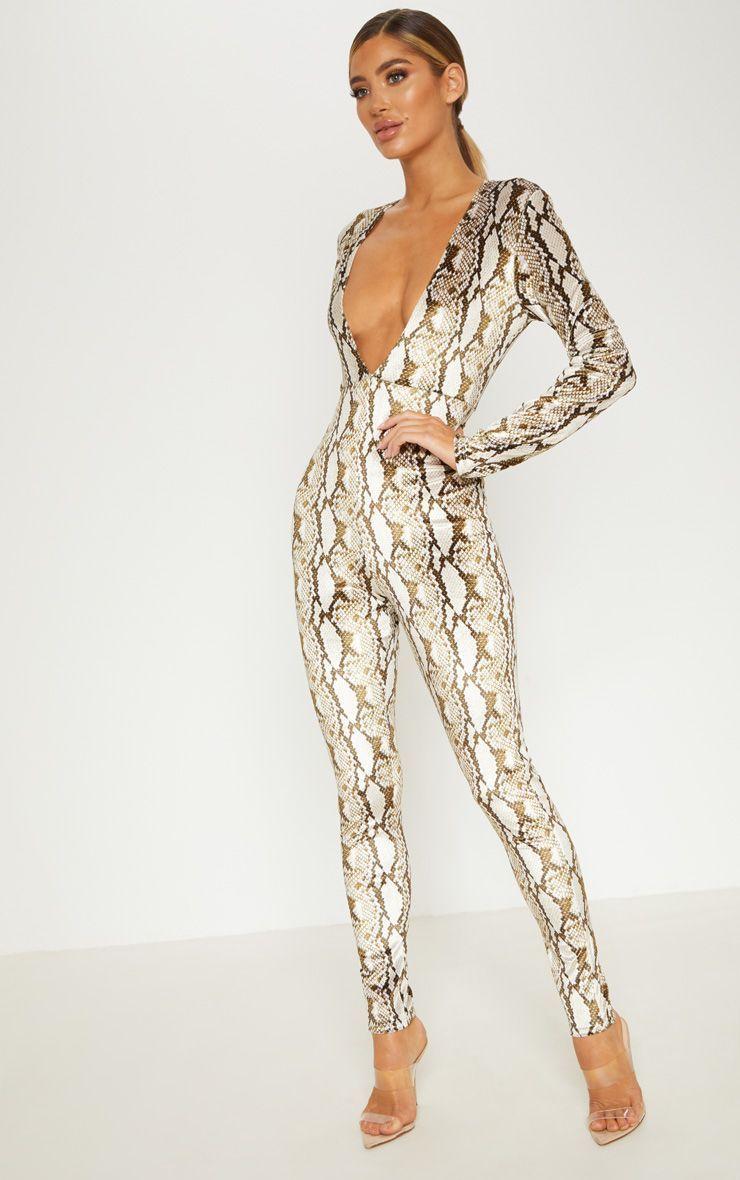 Multi Snake Print Velvet Jumpsuit #snakeprints