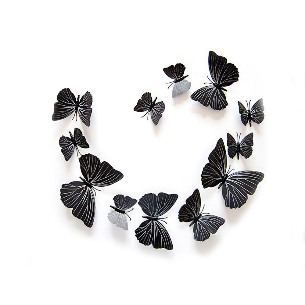 Inspirational D Schmetterlinge er Set Wandtattoo Wandsticker Wanddeko Schwarz
