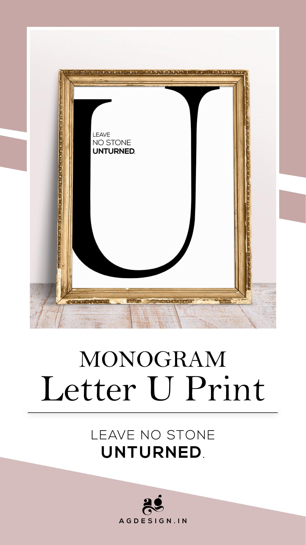 Large Letter U Print, Alphabet U Monogram Printable