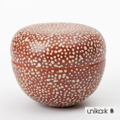 Eva Brandt - Ceramic lidded pot, brownish red with dots in off white