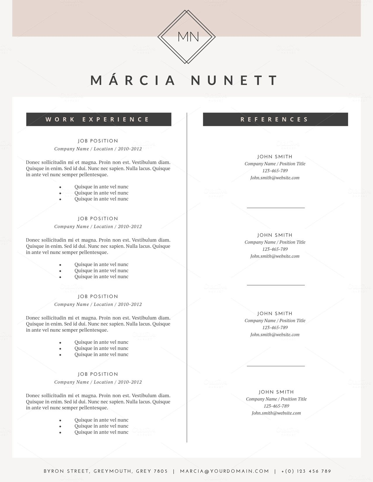 Word 2010 Resume Template Hipster Resume Template For Wordthis Paper Fox On Creative