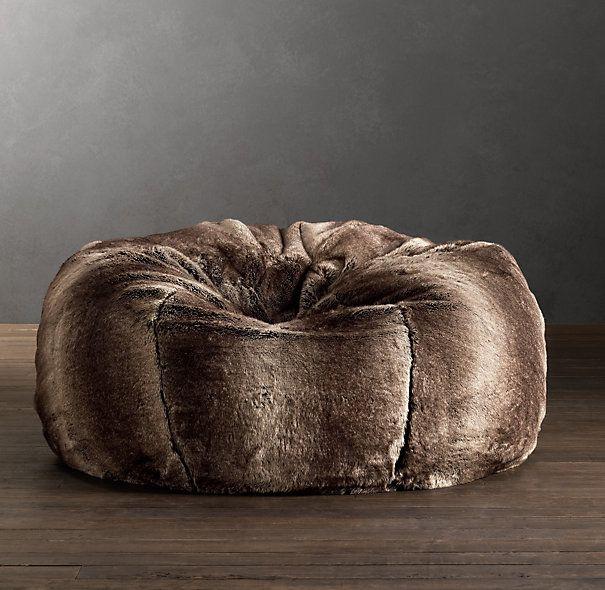 Grand Luxe Faux Fur Bean Bag Chair   Mink