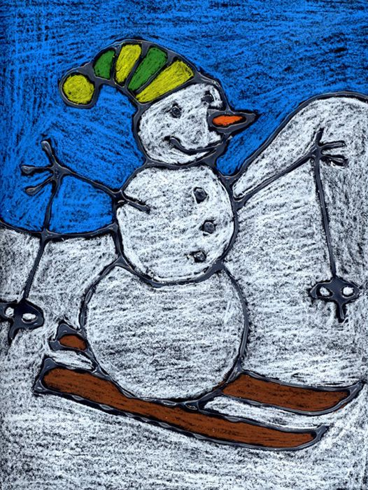 Snowman on Skis – Art Projects for Kids