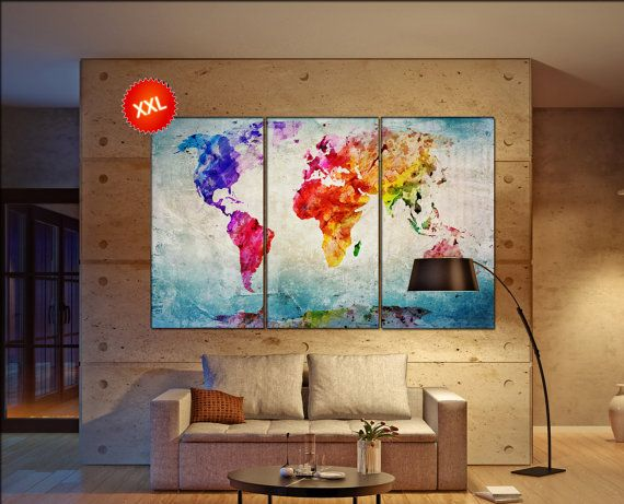 Canvas world map wall art print on canvas large canvas world map art canvas world map wall art print on canvas large canvas world map art artwork canvas world map world map print home office decoration gumiabroncs Gallery