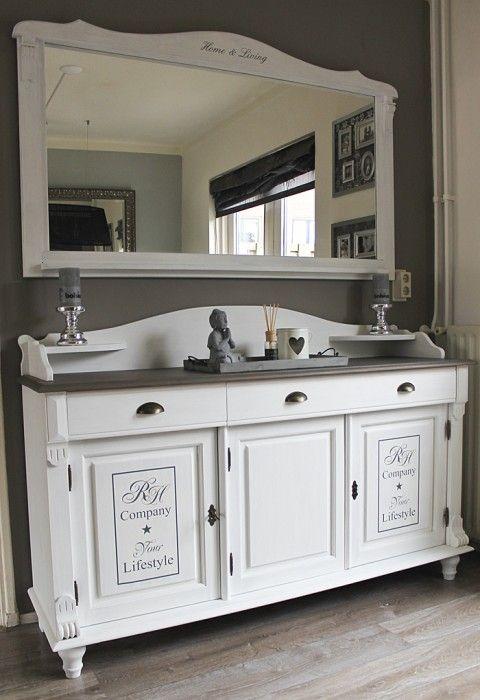 Ziezo (re)Style - Mooi landelijk dressoir met grote spiegel VERKOCHT ...
