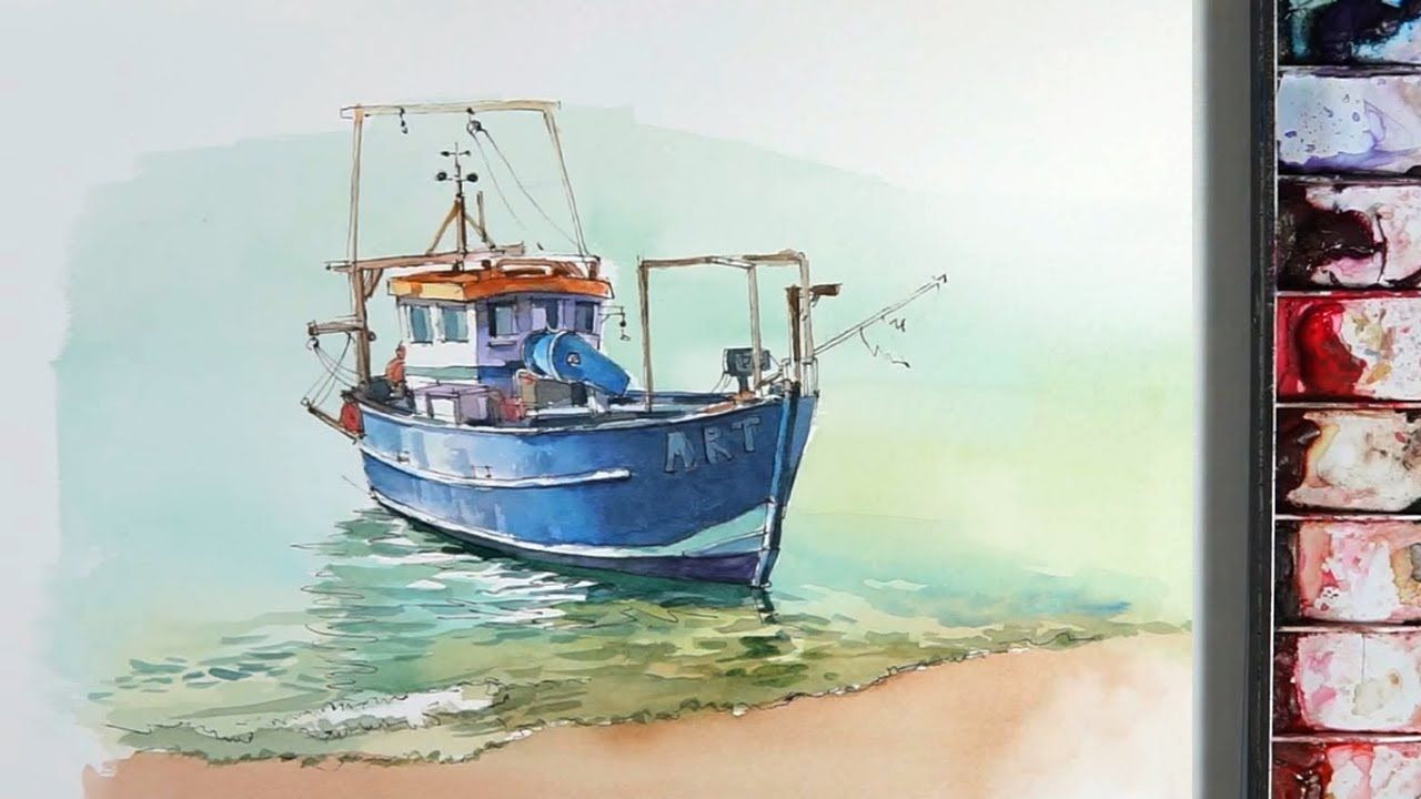 Line And Wash Watercolor A Small Fishing Boat Near The Beach