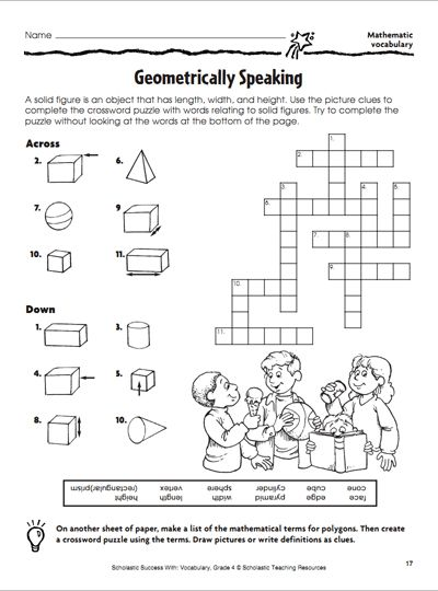 geometrically speaking crossword puzzle parents 6th 8th grade printables geometry. Black Bedroom Furniture Sets. Home Design Ideas
