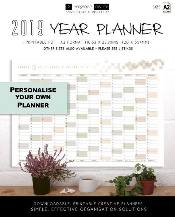 Personalise 2019 Wall Planner Downloadable Wall Calendar Large