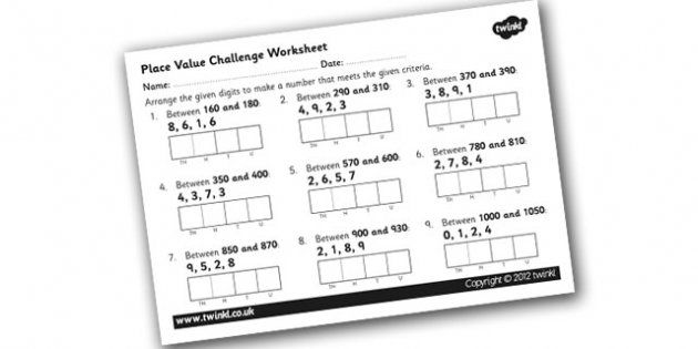 Place Value Challenge Worksheet  Place Value Place Value