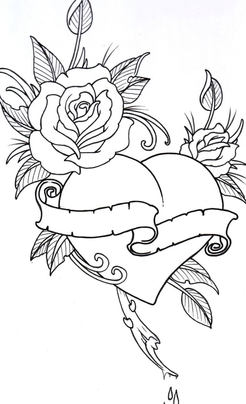 Roses Hearts Drawings : roses, hearts, drawings, Tattoo, Ideas, Women, Coloring, Books,, Pages,, Pages