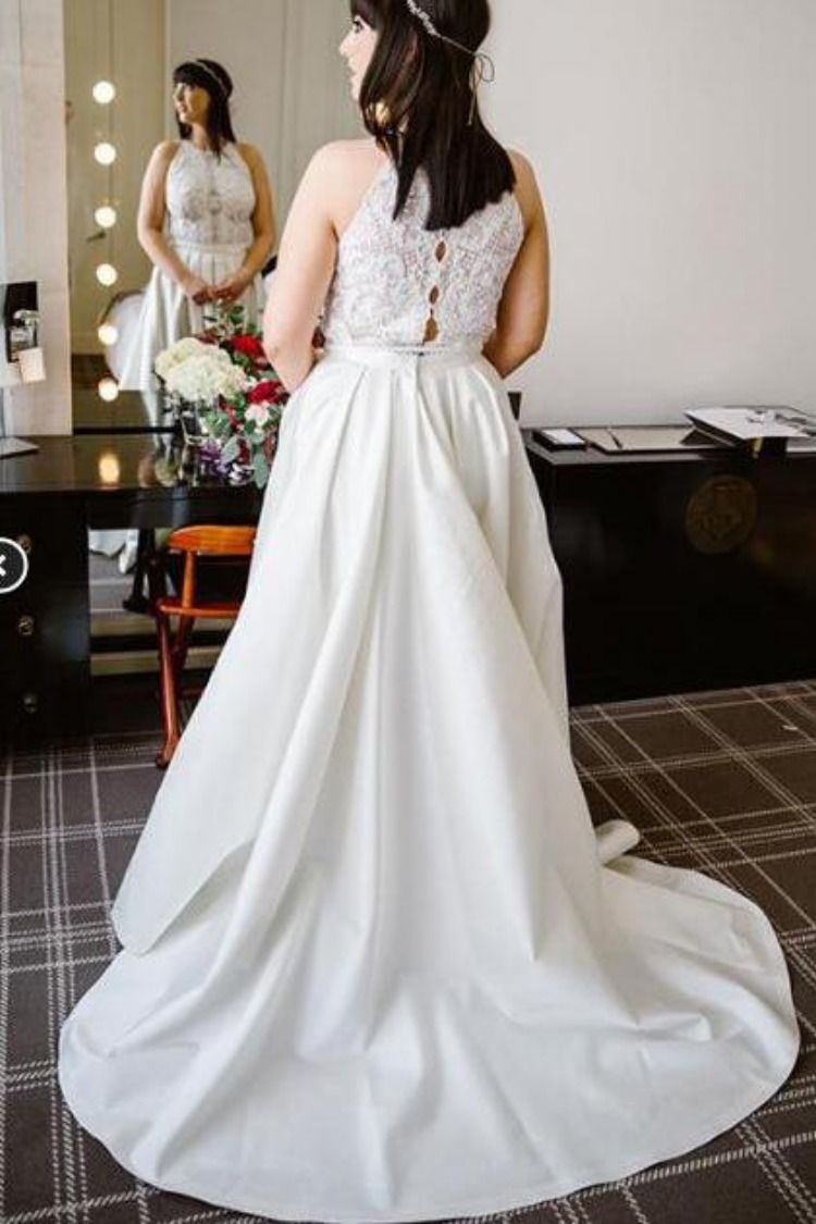 A line halter ivory satin sleeveless wedding dresses long