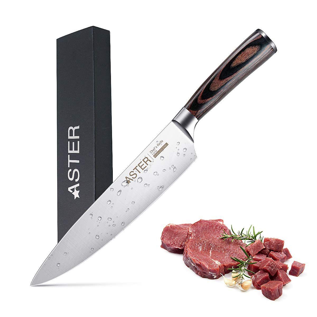 Aster Couteau De Cuisine 20cm Couteax De Chef Professionnel Ultra Aiguise Acier Inoxydable Allemand A Haute Teneur En Carbo Couteau De Cuisine Couteau Aiguiser