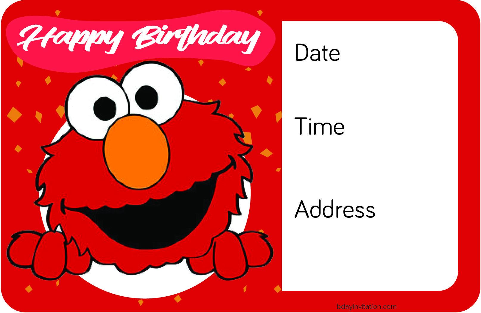 Nice FREE Printable Elmo Birthday Invitation Template | FREE ...