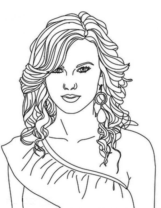 taylor swift coloring page - Celebrity Coloring Pages Print