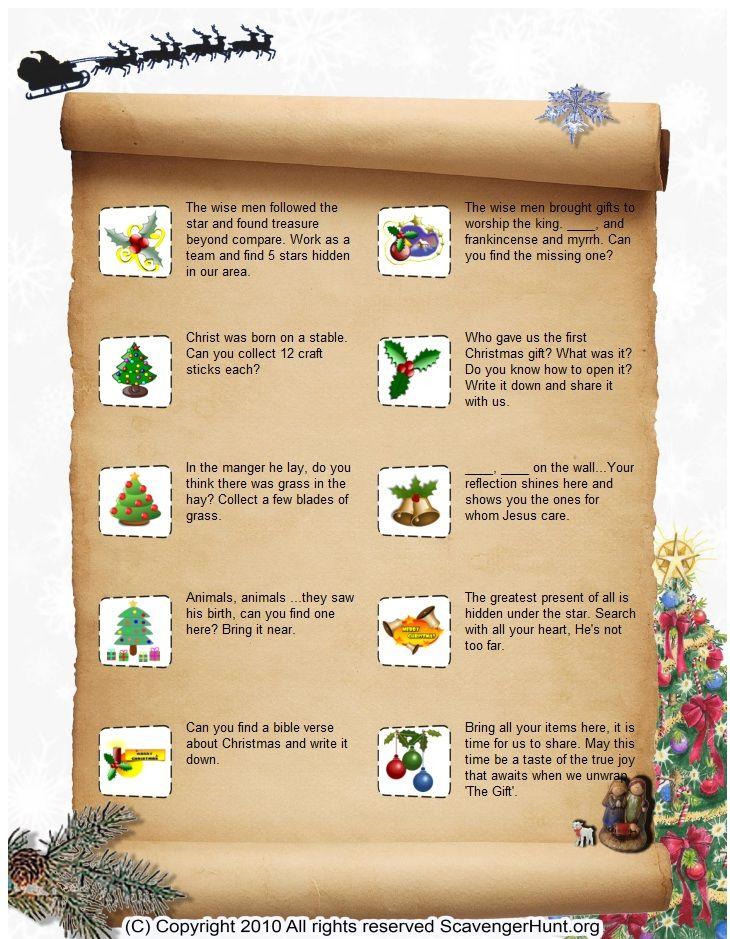 Baby Jesus Scavenger Huntscavenger hunt list Christmas