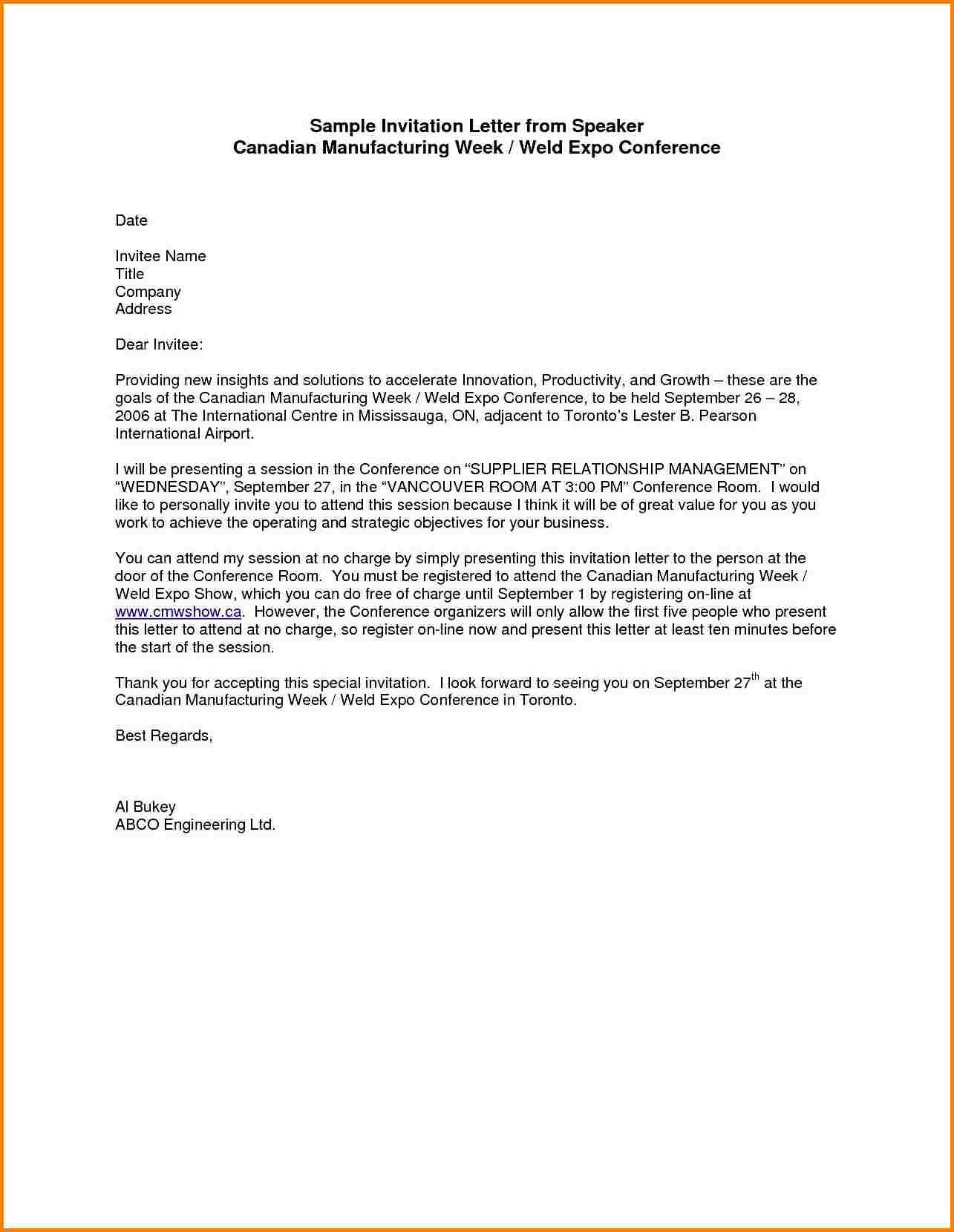 Invitation Letter Template Formal Document Sample Donation Request