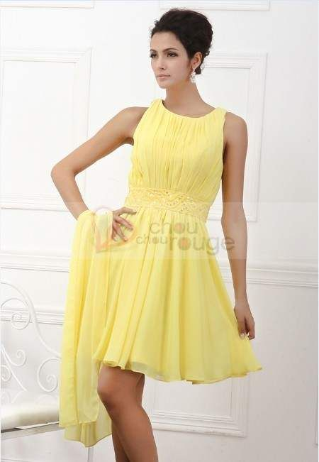Robe de cocktail jaune poussin