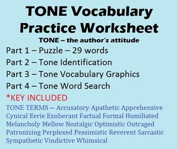 Tone Vocabulary Worksheet 29 Terms Puzzle Identification Graphics Etc Vocabulary Worksheets Vocabulary Practice Vocabulary Download the tone examples and worksheets. tone vocabulary worksheet 29 terms