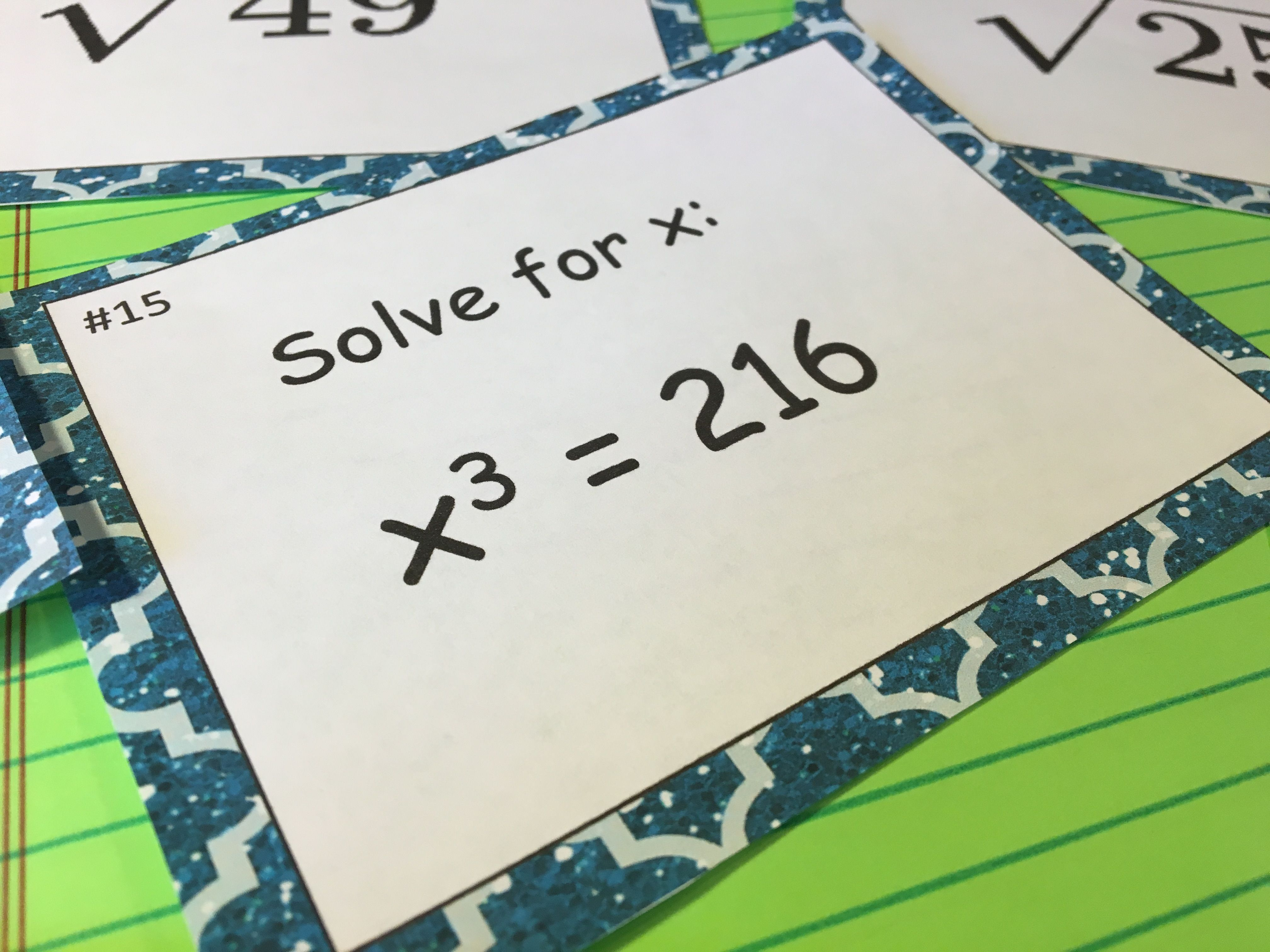 Square Roots Cube Roots Task Cards Pinterest Square Roots