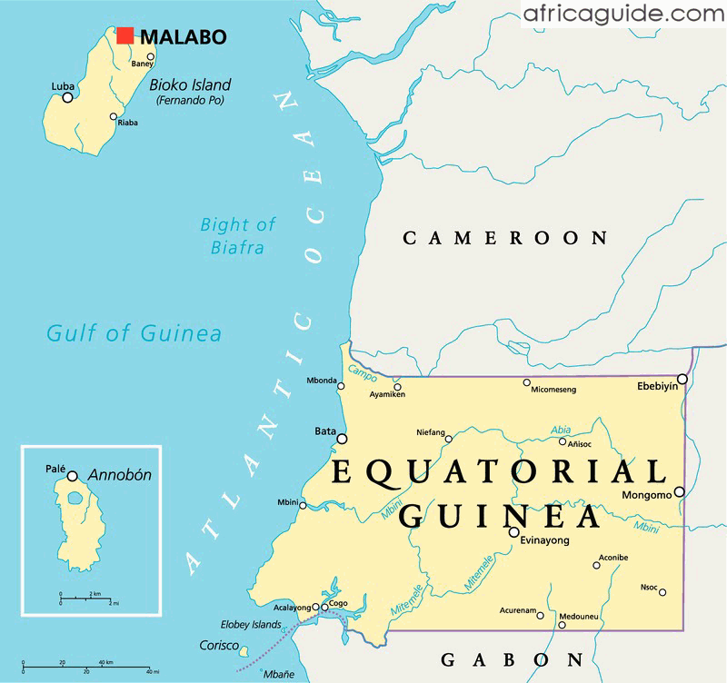 Equatorial Guinea map with capital Malabo Equatorial Guinea