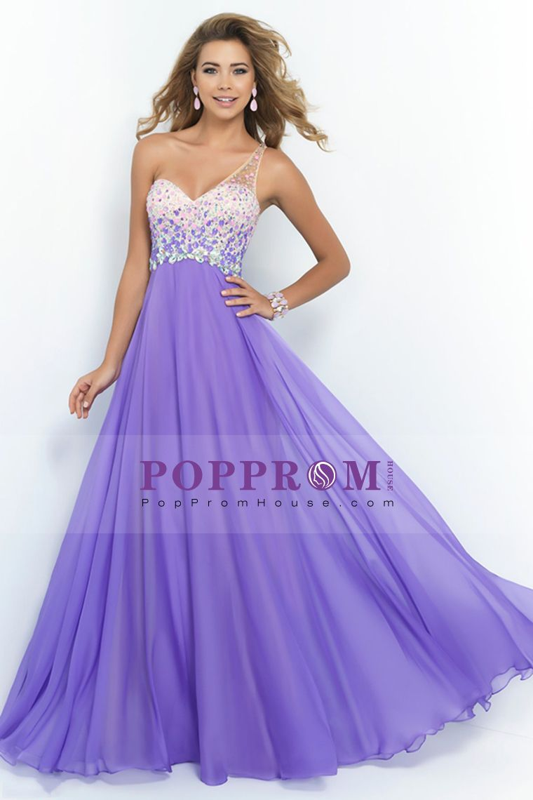 2015 Passionate Prom Dresses A Line Sweep Train one Shoulder With Beadings