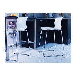 GLENN Taburete alto, blanco, cromado, 66 cm IKEA